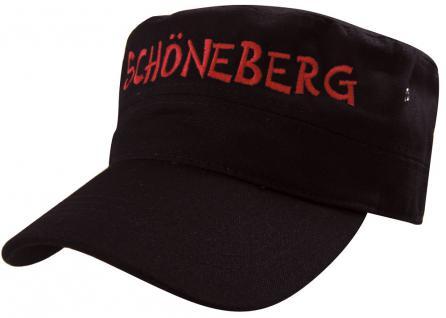 Military - Cap mit Schöneberg - Stickerei - rot - 60520 schwarz - Baumwollcap Baseballcap Hut Cappy Schirmmütze