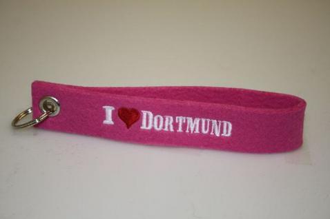 Filz-Schlüsselanhänger mit Stick I love Dortmund Gr. ca. 17x3cm 14310 rosa