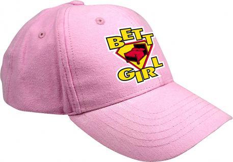 Cap mit lustiger Bestickung - Bett Girl - 52110 pink - Cap Kappe Baumwollcap Baseballcap
