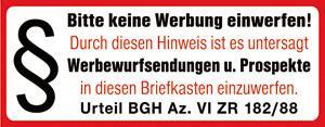 PVC-Aufkleber - BITTE KEINE WERBUNG - 308022/1 - Gr. ca. 90 x 35 mm