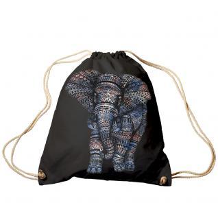 Trend-Bag Turnbeutel Sporttasche Rucksack mit Print - Elefant - TB12991 schwarz