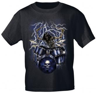 T-Shirt mit Print Schlagzeuger Skelett 10244 anthrazitgrau Gr. 2XL