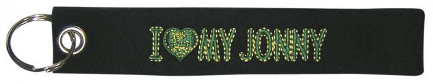 "(14098) Filz-Schlüsselanhänger mit Stick "" I love my Jonny "" Gr. ca. 17x3cm"