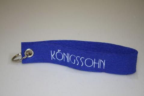 Filz-Schlüsselanhänger mit Stick Königssohn Gr. ca. 17x3cm 14248 blau