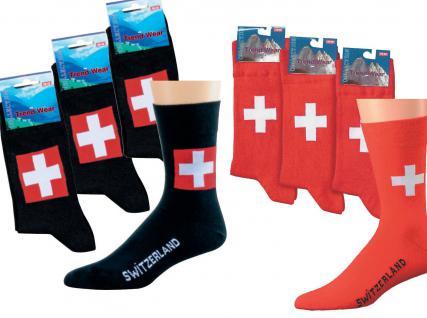 (56355-33) 3er Pack SOCKEN Damen + Herren Gr. 37-46 - Schweiz - Landhaus rot / 37-42