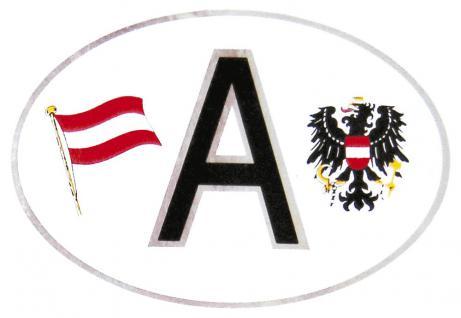 "(301167) Auto-Aufkleber Stick Applikation Emblem Aufkleber oval mit Silberrand "" A = Austria Österreich"" NEU Gr. ca. 10, 2 x 6, 6cm - Wappen Landeszeichen Flagge"