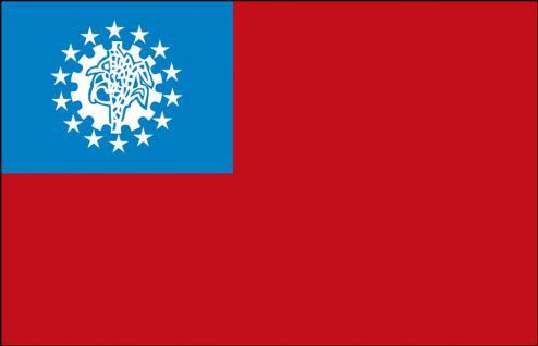 Autfahne - Asien - Gr. ca. 40x30cm - 78017 - Flagge mit Klemmstab, Autoländerfahne