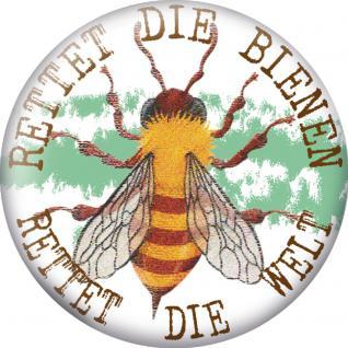 (16096 rund) MAGNETBUTTON mit MOTIV - RETTET DIE BIENEN - RETTET DIE WELT - Gr. ca. 5, 7cm - Metall-Magnet Küchenmagnet - Imker Biene