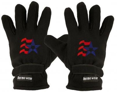 Handschuhe Fleece mit Einstickung Stern USA Amerika 56527 schwarz