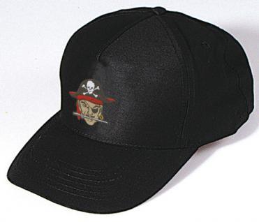 Baseballcap mit Einstickung - Pirat Piratenkapitän - 68421 schwarz - Baumwollcap Hut Schirmmütze Cappy Cap
