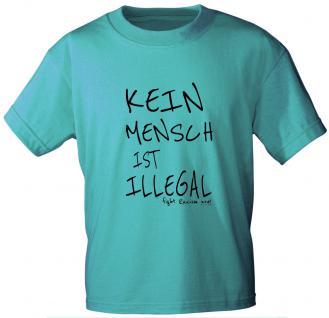 T-Shirt unisex mit Print - KEIN MENSCH IST ILLEGAL - 10143 türkis - Gr. S