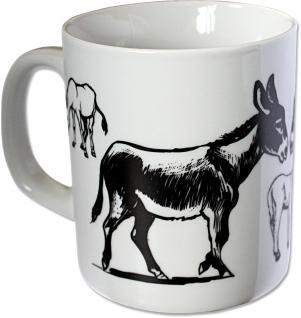 Tasse Kaffeebecher mit Print Esel weiß 57310