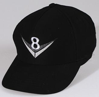 Baseballcap mit Einstickung - V8 - 68114 schwarz - Baumwollcap Hut Schirmmütze Cappy Cap