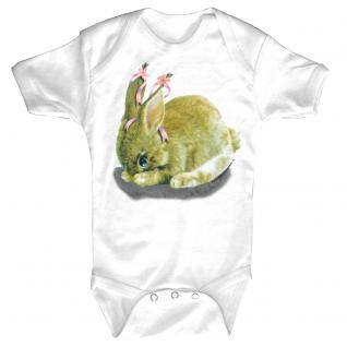 Baby-Body mit Druckmotiv Hase in 4 Farben und 4 Größen B12778 weiß / 6-12 Monate