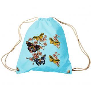 Trend-Bag Turnbeutel Sporttasche Rucksack mit Print -Schmetterlinge - TB65322 hellblau