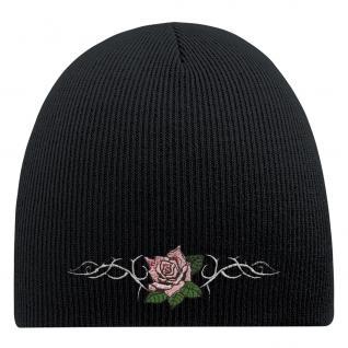 Beanie-Mütze mit Einstickung - ROSE UND TRIBAL TATTOO - Wollmütze Wintermütze Strickmütze - 54541 schwarz