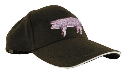 Baseballcap mit Einstickung- rosa Schwein Schweinchen - 61005 schwarz