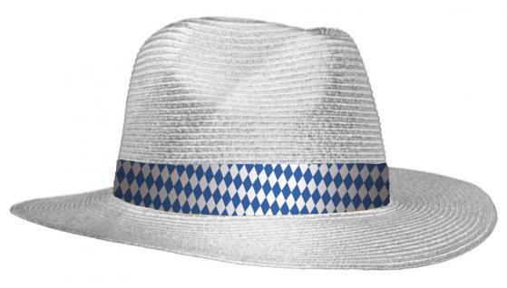 Stroh - Sonnenhut mit blau weißem Rautenband 60791-1 weiß