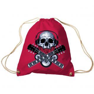 Trend-Bag Turnbeutel Sporttasche Rucksack mit Print - Skull Guitar - TB65308