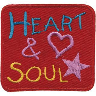 Aufnäher - Heart & Soul - 01932 - gr. ca. 8 x 8 cm - Patches Stick Applikation