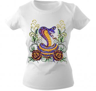 Girly-Shirt mit Print - Schlange - 10974 - versch. farben zur Wahl - weiß / M