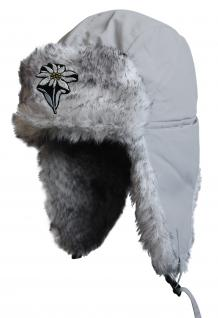 Chapka Fliegermütze Pilotenmütze Fellmütze in grau mit 28 verschiedenen Emblemen 60015 Edelweiss m. Stil