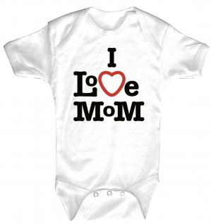 Babystrampler mit Print ? I love Mom ? 08398 weiß - 0-24 Monate