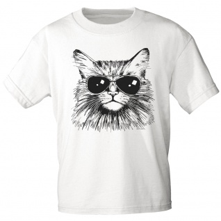 T-Shirt Print - Katze Cat mit Brille (keep cool) - 12847 weiß Gr. 3XL