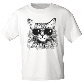 T-Shirt Print - Katze Cat mit Brille (keep cool) - 12847 weiß Gr. L