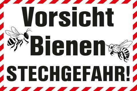 Schild - Vorsicht Bienen Stechgefahr - 309295/1 - Gr. ca. 30cm x 20cm - Bee Imker - Kunststoffschild - Vorschau
