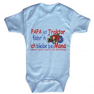 Babystrampler mit Print - Papa ist Traktor fahrn ich bleib bei Mama - 08308 hellblau - Gr. 0-24 Monate