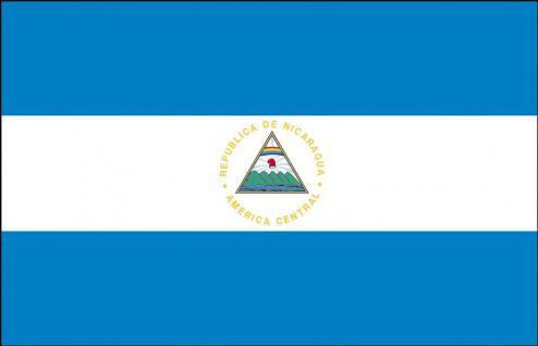 Länderflagge - Nicaragua - Gr. ca. 40x30cm - 77118 - Flagge mit Holzstock, Stockländerfahne