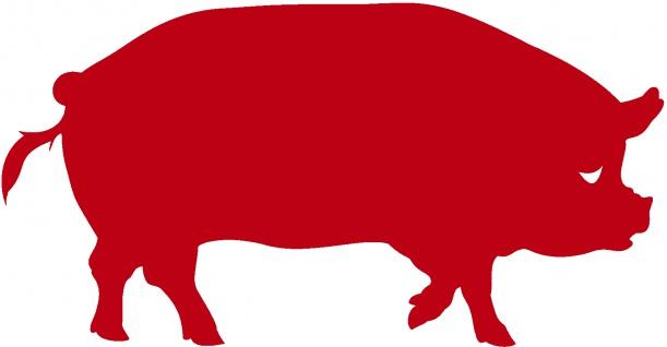Aufkleber Applikation - Schwein - AP0439 - rot / 40cm