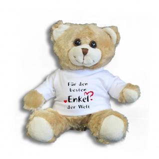 Teddybär mit Shirt - Für den besten Enkel der Welt -- Größe ca. 26cm - 27033 hellbraun