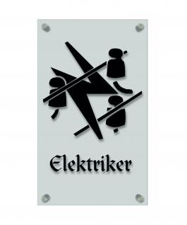 Zunftschild Handwerkerschild - Elektriker - beschriftet auf edler Acryl-Kunststoff-Platte ? 309435 schwarz
