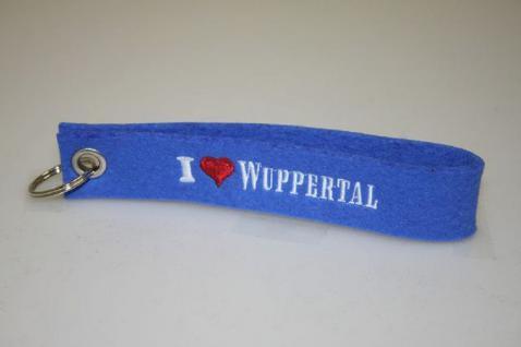 Filz-Schlüsselanhänger mit Stick - i love Wuppertal - Gr. ca. 17x3cm - 14333