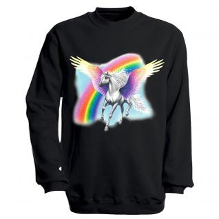 "Sweat- Shirt mit Motivdruck in 7 Farben "" Pegasus"" S12664 schwarz / S"