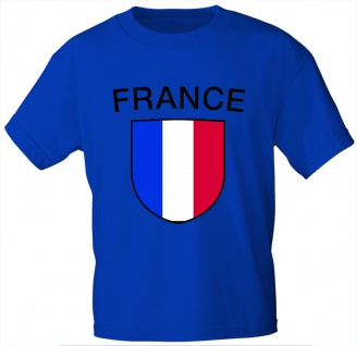 Kinder T-Shirt mit Print - Frankreich - 73051 - blau - Gr. 98/104
