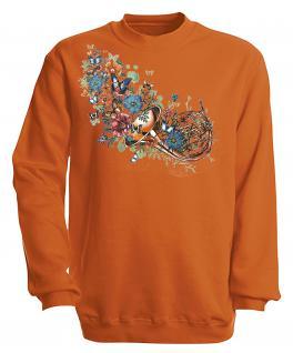 Sweatshirt mit Print - Trompete - S10283 - versch. farben zur Wahl - Gr. Orange / XXL