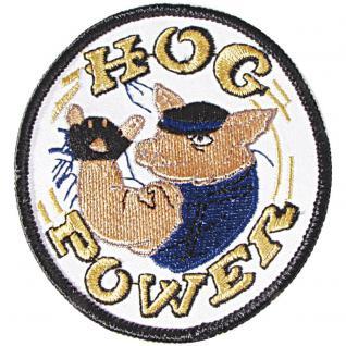 Patches Emblem Abzeichen Aufnäher rund - HOG POWER - Gr. ca. 7, 5cm (04958) Bike Trike Truck Chopper Roller Motorrad