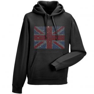 Kapuzen- Sweatshirt mit hochwertigem Strass- Motiv /Glitzer- Motiv Union Jack KS12897 M