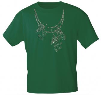 (12852) T- Shirt mit Glitzersteinen Gr. S - XXL in 13 Farben XXL / Forest Green