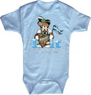 Babystrampler mit Print ? Oktoberfest i love it- 12732 blau ? Gr. 6-12 Monate