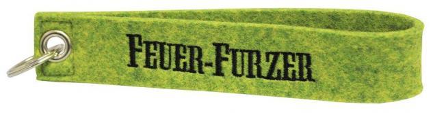 Filz-Schlüsselanhänger mit Stick Feuer-Furzer Gr. ca. 17x3cm 14051 grün