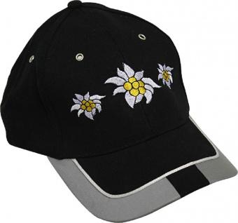 Baseballcap mit Einstickung - 3 Blüten Edelweiss - 60983 schwarz