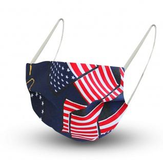 Design Maske aus Baumwolle mit zertifiziertem Innenvlies - USA Amerika Flagge - 15476 + Gratiszugabe - Vorschau 1