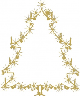 Wandtattoo Dekorfolie Weihnachtsbild Weihnachtsbaum Tannenbaum WD0810 - gold / 175cm