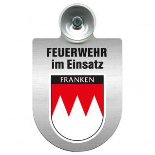 Einsatzschild Windschutzscheibe incl. Saugnapf - Feuerwehr im Einsatz - 309355 - Region Franken