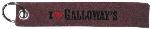Filz-Schlüsselanhänger mit Stick - I love Galloways - Gr. ca. 17x3cm - 14080
