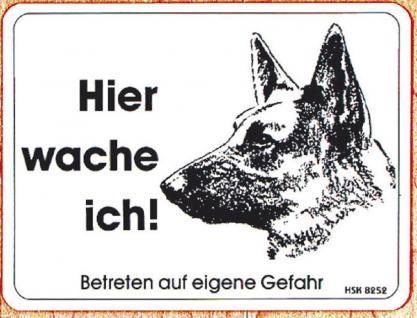 Warnschild - Hier wache ich - Betreten auf eigene Gefahr - Gr. ca. 20cm x 15cm - 308252 - Wachhund - Vorschau